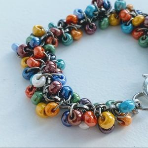 Handmade beaded multicolour bracelet